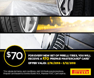 Pirelli February, 2018 rebate with Pep Boys