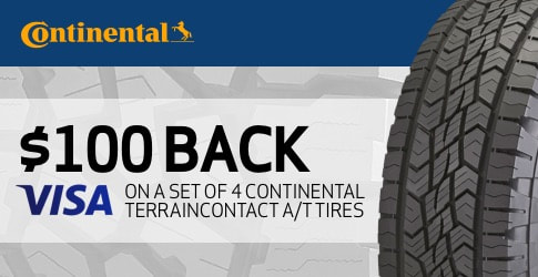 Continental TerrainContact A/T tire rebate for October 2018