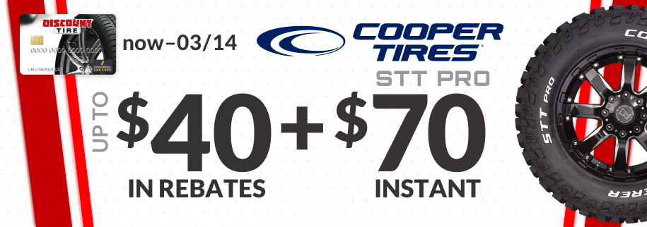Cooper STT Pro tire rebate for March 2021 with Discount Tire Direct