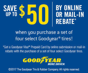 Goodyear August-September Pep Boys rebate