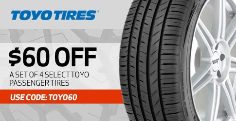 Toyo passenger tires discount code for September 2020 with TireBuyer.com