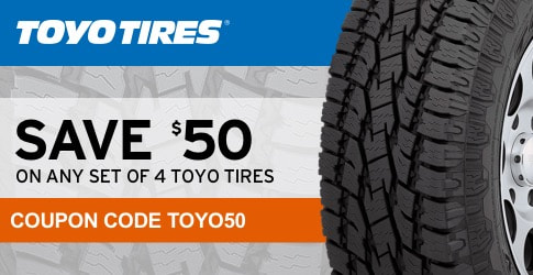 Toyo Tires January, 2018 coupon code